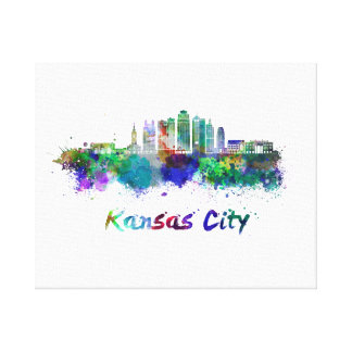 Kansas City V2 skyline in watercolor Canvas Print