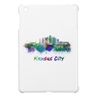 Kansas City V2 skyline in watercolor iPad Mini Case