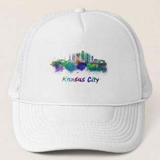 Kansas City V2 skyline in watercolor Trucker Hat
