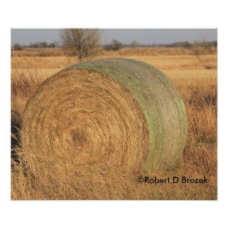 Kansas Country Hay Bale Photo Enlargement