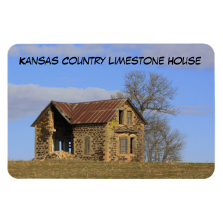 Kansas Country Limestone House Square Magnet!! Magnet