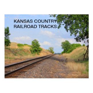 Kansas Country Railroad Tracks POST CARD