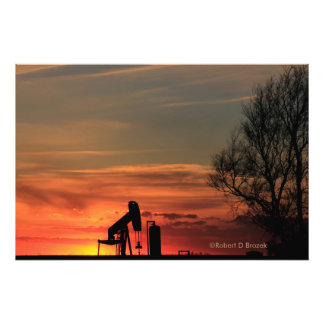 Kansas Country Sunset Silhouette Photo Enlargement