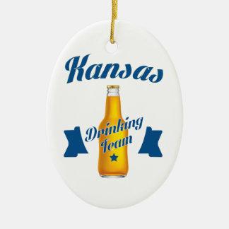 Kansas Drinking team Ceramic Oval Ornament
