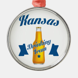 Kansas Drinking team Silver-Colored Round Ornament