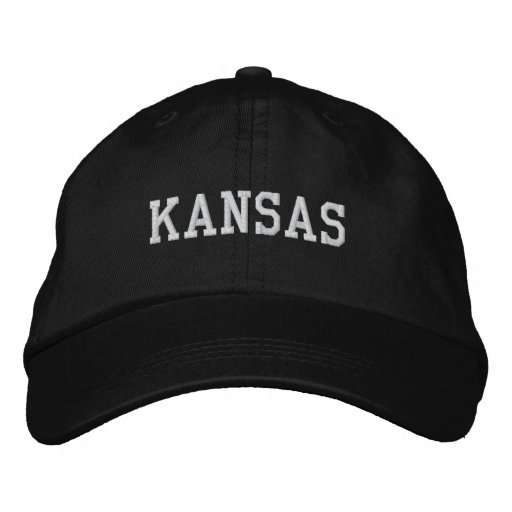 Kansas Embroidered Adjustable Cap Black Baseball Cap