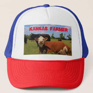 Kansas Farmer Truckers Hat Herford and Angus Cows