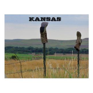 Kansas Farmers Boots on a Fence Post Card