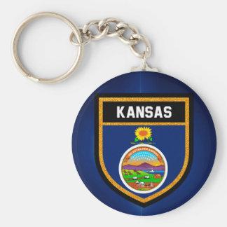 Kansas Flag Basic Round Button Keychain