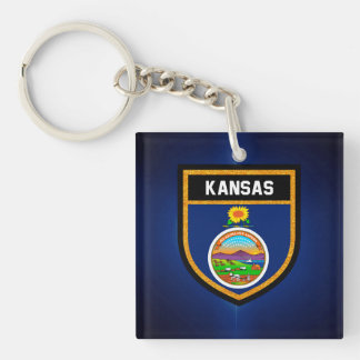 Kansas Flag Double-Sided Square Acrylic Keychain