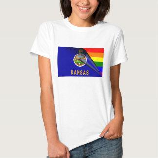 Kansas Flag Gay Pride Rainbow Shirts