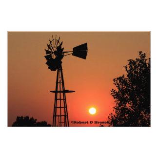 Kansas Golden Sunset  Windmill Photo Enlargement