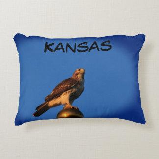 Kansas Hawk on a Flag Pole Pillow. Decorative Pillow