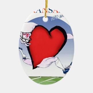 kansas head heart, tony fernandes ceramic oval ornament