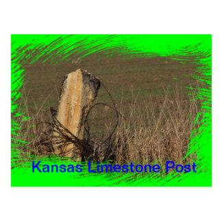 Kansas Limestone Post shot closeup on a POST CARD! Postcard