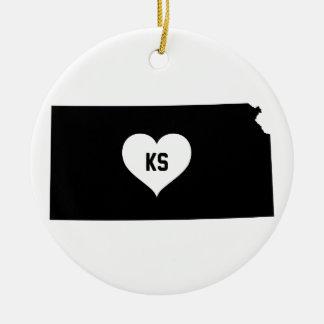 Kansas Love Ceramic Ornament