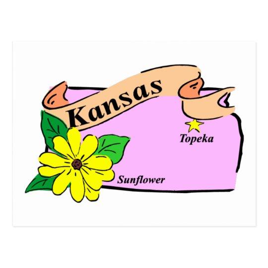Kansas Map Postcard
