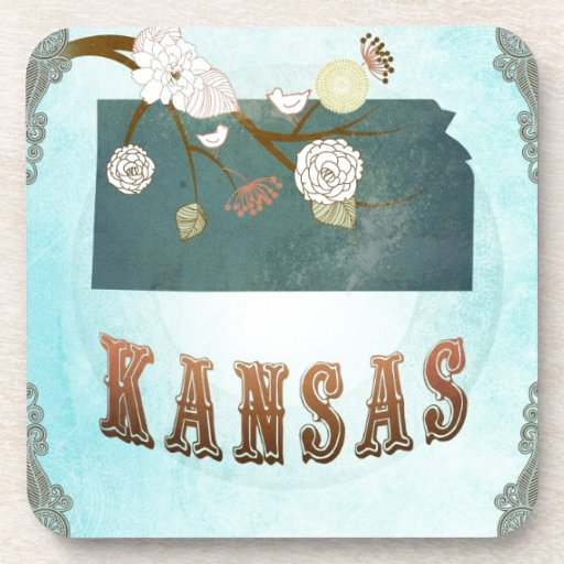 Kansas Map With Lovely Birds Beverage Coaster