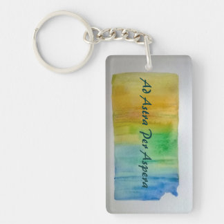 KANSAS MOTTO Key Chain, Ad Astra Per Aspera Single-Sided Rectangular Acrylic Keychain
