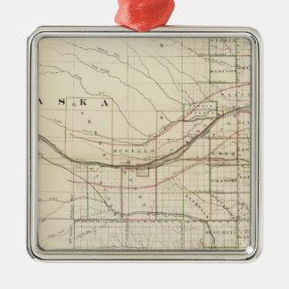 Kansas, Nebraska 2 Silver-Colored Square Ornament