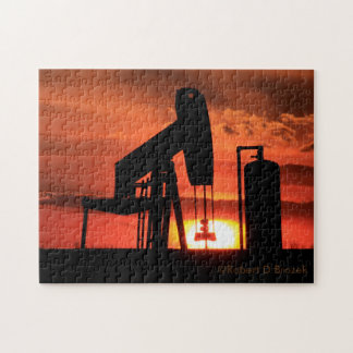 Kansas Oil Well Pump Silhouette Sunset Puzzle
