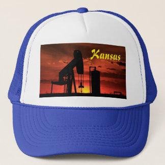 Kansas Oil Well Pump Sunset/Silhouette Hat