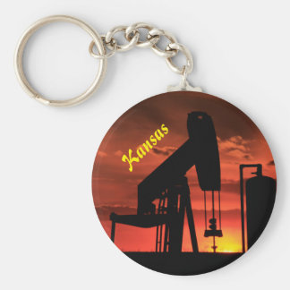 Kansas Oil Well Pump Sunset Silhouette Key Chain