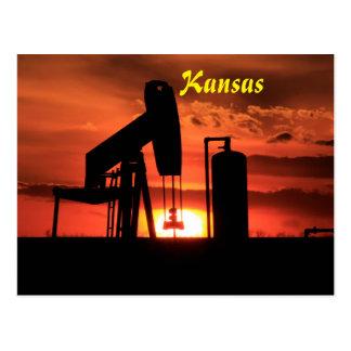 Kansas Oil Well Pump Sunset/Silhouette Post Card