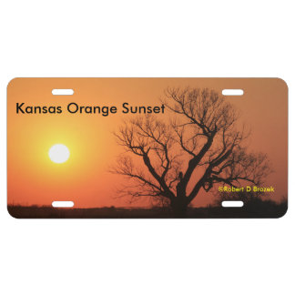 Kansas Orange Sunset License  Plate. License Plate