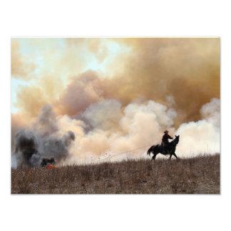Kansas Rancher Starting a Controlled Burn Art Photo