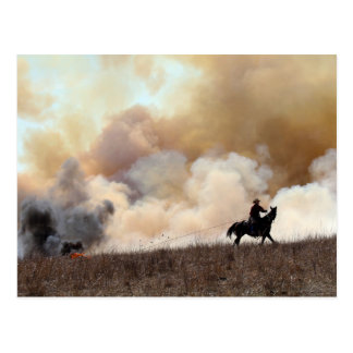 Kansas Rancher Starting a Controlled Burn Postcard