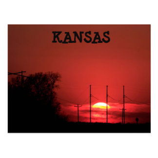Kansas RED SUNSET Post Card