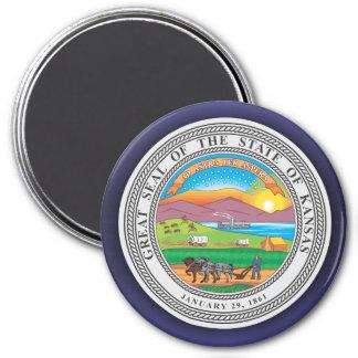 Kansas Seal 3 Inch Round Magnet