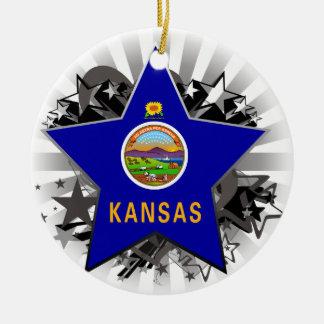 Kansas Star Ceramic Ornament