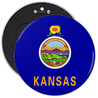 Kansas State Flag 6 Inch Round Button