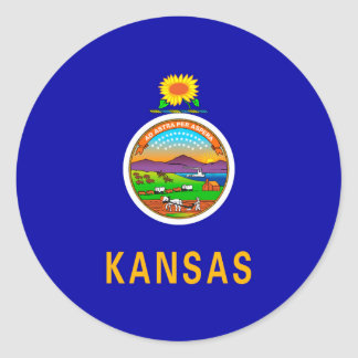 Kansas State Flag Design Classic Round Sticker