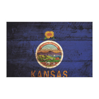 Kansas State Flag on Old Wood Grain Gallery Wrapped Canvas