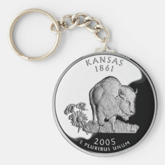 Kansas State Quarter Basic Round Button Keychain