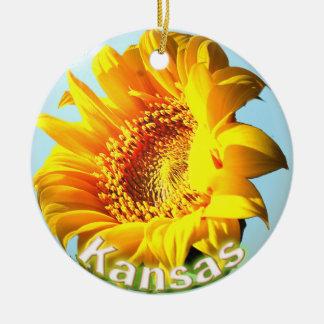 Kansas Sunflower Round Ceramic Ornament