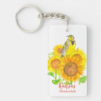 Kansas Sunflowers Western Meadowlark Keychain
