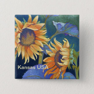 Kansas Suns Sunflowers USA 2 Inch Square Button