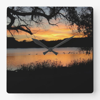 Kansas Sunset at Lake Scott State Park Square Wall Clock