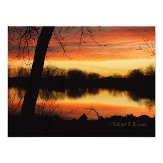 Kansas Sunset Reflection Photo Enlargement