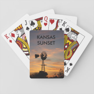 Kansas Sunset with a Windmill PLAYING CARDS