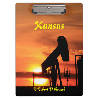 Kansas Sunset with oil Well Pump Clip Board