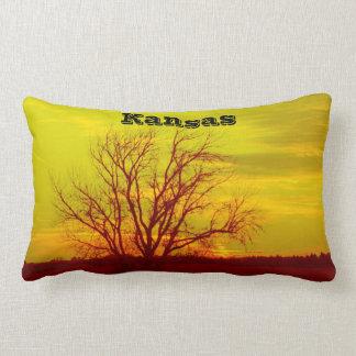 Kansas Sunsets,Windmill and a Tree Square Pillow. Lumbar Pillow