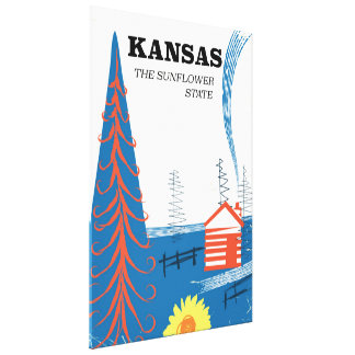 """Kansas """"the sunflower state"""" vintage travel poster stretched canvas print"""