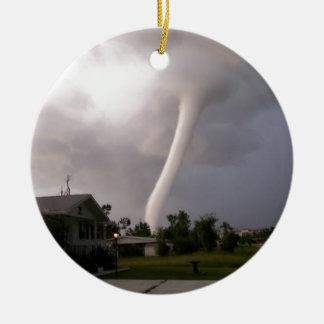 Kansas Tornado Round Ceramic Ornament