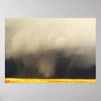 Kansas Tornado with Rainbow Poster