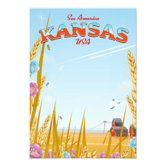 Kansas USA Farm retro Travel poster